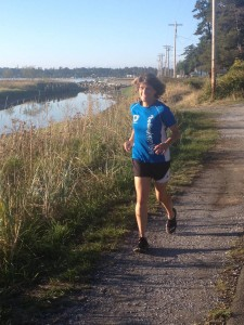 Julia Creech running in Birch Bay, WA